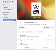 La page de l'évènement de Wine Paris 2019